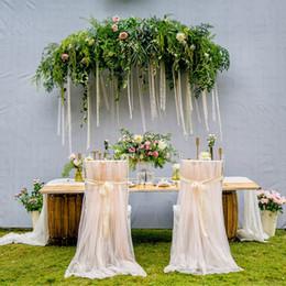 2019 outdoor furniture sofa sets 2 pçs / lote cadeira de casamento romântico caixilhos rosa cáqui branco cadeira de tule cadeira de saia capas de celebração festa de aniversário decoração do casamento do evento