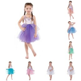 Wholesale Mixed Tutu - Lovely nicorn Girl Dress Embroidery Beading dress mix colors Gauze Princess Party Dress for Children Clothes