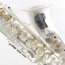 boîtes à musique de qualité Promotion SELMER SAS-R54 Marque Qualité Instrument de Musique Alto Mib Saxophone E Plat En Laiton Mat Argent Plaqué Perle Boutons Avec Boîte, Embouchure