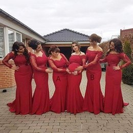 bridesmaids lace dress orange NZ - Cheap Burgundy Mermaid Bridesmaid Dresses 2018 For Weddings Long Sleeves Lace Appliques Sashes Off Shoulder Sweep Train Maid Of Honor Gowns