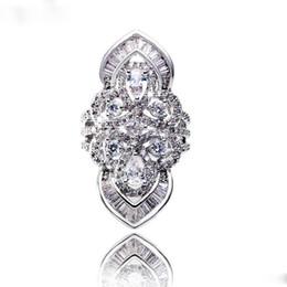 Anéis barrocos on-line-Luxo Barroco Estilo Tribunal Anel de Prata Esterlina 925 5A Zircon Cz Anéis de Casamento Banda de noivado para as mulheres homens anel de Dedo