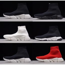 Wholesale high 45 - High Quality Cheap Original 2018 Women Men Sock Running Shoes Black White Red Speed Trainer Sports Sneakers Top Boots Casual shoe mens 36-45