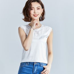 Wholesale Wholesale Mosaic Clothes - Women Clothes Sleeveless Summer New Lace O-Neck Tank Tops 2018 Bud Silk Mosaic Vest Ladies Harness Shirt White T-shirt 3XL
