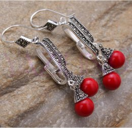 tibet coral beads Coupons - new Elegant tibet silver round bead cluster coral earrings Natural stone 925 Sterling Silver wedding jewelry earrings