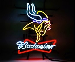 neon beer signs Coupons - New Star Neon Sign Factory 17X14 Inches Real Glass Neon Sign Light for Beer Bar Pub Garage Room BUD-Minnesota Vikings .