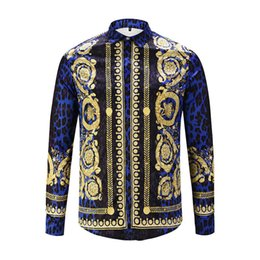 Wholesale Skull Shirt Dress - 2018 Luxury men's shirt Medusa printed Retro floral sweats long sleeve cotton shirts for men casual dress shirt social tops
