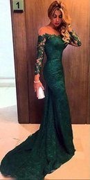 Wholesale Women Evening Gown Maxi Dress - hot sale 2016 Emerald Green Mermaid Lace Evening Dresses Custom Made Plus Size Long Sleeves Women Prom Dress Gowns Maxi Formal Wear Cheap