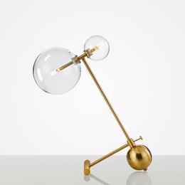 Lampes de lecture pour tables de chevet en Ligne-Moderne en métal LED lampe de table double tête de table en verre lumière Gold Desk Lamps Pour chambre lit lecture Chambre Home Lighting G807
