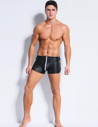 Más tamaño breve tanga online-Plus Size Mens Sexy Lencería Latex Briefs Rivet Hollow Out Breve Catsuit Ropa interior de látex Entrepierna abierta Gay Mens Panty PU Thong