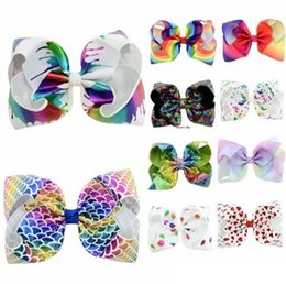 hair design multi Coupons - 8 inch JOJO bow baby girl hair bows barrettes Rainbow Mermaid Unicorn Design Girl Clippers Girls Hair Clips Baby Hair Accessory