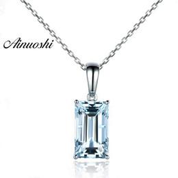 AINUOSHI Pure 925 стерлингового серебра Топаз кулон ожерелье 4 CT Изумруд вырезать натуральный голубой топаз кулон ювелирные изделия подарок для женщины cheap natural emerald pendants от Поставщики натуральные изумрудные подвески