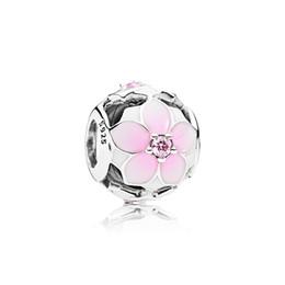 2019 magnolie armbänder Authentische 925 Sterling Silber Rosa Emaille Zubehör Magnolie Charm Logo Original Box für Pandora Charms European Beads Armband DIY