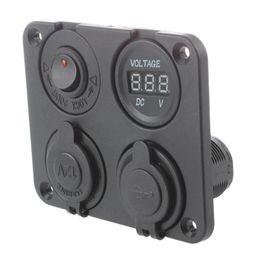4 IN 1 Caricabatteria da auto 12-24V 3.1A LED 2 Adattatore jack USB Voltmetro auto PR S1K9 con borsa Opp da