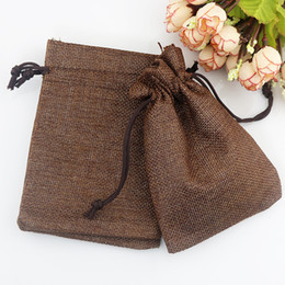 Wholesale Gifts Jewelry Linen Bags - Hot sale 100 pcs Coffee color Linen Fabric Jute Drawstring bags Earrings Brooch jewelry Wedding gift package pouches 7*9cm