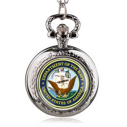 weißgold adler anhänger Rabatt Silber Runde Fall Quarz Taschenuhren mit Halskette Vereinigte Staaten Amerika Abteilung der Marine Anhänger Uhr Männer Frauen PB488