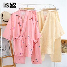 Wholesale Cartoon Pyjamas For Women - 2017 spring 100% cotton Japan kimono pajamas sets for women long-sleeve simple Cartoon printing women pyjamas Pink Bathrobes