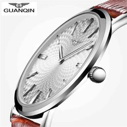 Wholesale Gold Thin Mens Watch - relogio masculino GUANQIN Watch Men Leather Ultra Thin Quartz Watch Mens Watches Top Brand Luxury Casual Waterproof Wristwatch