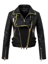 short fitted down jacket Coupons - 2018 New Women Motorcyle & Biker Faux Leather Jackets and Coats Lady Slim Fit Turn-down Collar Streetwear Outerwear high quality