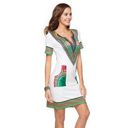 Плюс размер одежды boho style онлайн-Африканские платья для женщин плюс размер Dashiki одежда мода национальный стиль печати Boho с коротким рукавом мини-платье хлопок футболки платья