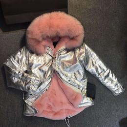 Wholesale Large Girls Winter Coats - 2017 Winter Coat Jacket Boy Girl Woman Man Warm Outwear Large Raccoon Fur Collar Hooded Faux Fur Liner Silver parka for kids