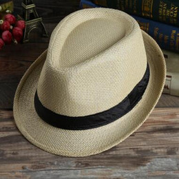 Wholesale children stingy brim hats - Men Women Panama Straw Hats Fedora Stingy Brim Hats Soft Vogue For 7 Colors Summer Sun Beach Caps Linen Jazz Straw Cap Children Caps