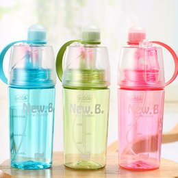 Wholesale Color Spray Bottles - Creative Sport Plastic Cup Outdoor Ridding Hiking Portable Spray Water Bottle Durable Atomizing Drinker Tool Three Color Optional 9xt2 Y
