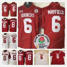 Wholesale youth reds jersey - Oklahoma Sooners #6 Baker Mayfield Limited Mens Youth Kid Red White Stitched 2018 NCAA Rose Bowl Patch College Football Draft Jerseys S-3XL