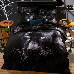 Wholesale Comforter Sets Leopard Print - 3D Vision 100% Cotton Duvet Cover Sheet Set Animals Leopards, Wolves, Tiger Pattern Reactive Printing and Dyeing Bedding Set