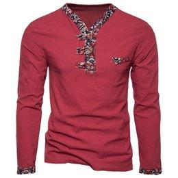 Estilos masculinos do colar da camisa on-line-Primavera Long Tee Novo Estilo Nacional dos homens V Collar Cor Linho de Algodão de Manga Longa T-shirt Masculino Top clothing