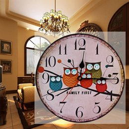 Wholesale Vintage Owl Clocks - igh Quality clock decoration 2016 New European Style Vintage Creative Forest Owl Round Wood Wall Clock Quartz Bracket Kitchen Clocks Deco...