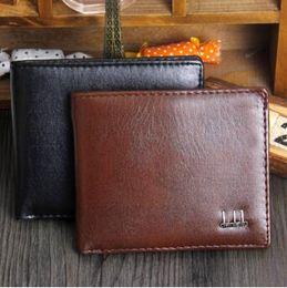 Wholesale Cool Wallet Mens - 2 Colors New Vintage PU Mens Wallets Brown Black Faux Leather Credit Card Cool Bifold Wallet CCA8942 50pcs