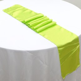 Wholesale Table Runners For Weddings Cheap - 50pcs 30 x 275cm Lime Green Cheap Banquet Satin Table Runners For Wedding Table Decoration