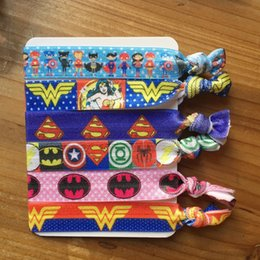 Wholesale Printed Elastic Hair Ties - Superhero Hair Ties for Kids Batman Captain America Prints FOE Elastic Hair Bands Wonder Women Hair Accessories Crease Free Ponytail Holders