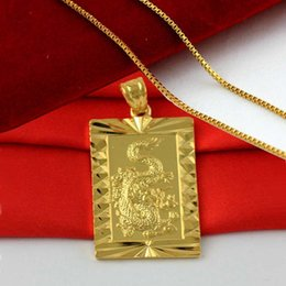 Wholesale Male Gold Pendants - 24k gold plated male yellow gold plated dragon pendant necklace ,men jewelry alluvial elegant vintage golden jewelry