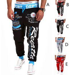 Wholesale Spandex Trousers - 2018 hot Jogger Pants Outdoors Men Fashion Letter PrintING HIP HOP Harem Sweat Pants Men Trousers casual Sports wear mens track suit