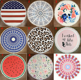 Wholesale Wholesale Cotton Bath Beach Towel - 150cm Microfiber Round Beach Towel Thick Soft Super Absorbent Tassel Towels Mandala Flamingo Printing Tapestry Summer Beach Bath Towels