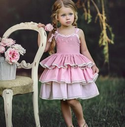 Wholesale Cotton Christening Gowns For Girls - Pink Short Flower Girl Dresses For Beach Wedding Gowns Cotton Applique Tiered Cheap First Communion Dress Beautiful Gowns
