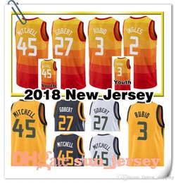 Wholesale youth basketball jerseys - 2018 New Utah Men's youth 27 Rudy Gobert Jersey 45 Donovan Mitchell 3 Ricky Rubio 2 Joe Ingles Jerseys