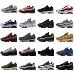 Wholesale Neon Black - 2018 New Cheap Mens sports 95 running shoes,Premium OG Neon Cool Grey sporting air shoes sneakers size 40-46