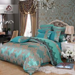 Wholesale Luxury Silk Duvet Covers - ParkShin Tibutle Silk Bedding Set Luxury Tencel Silk Duvet Cover Set Blue Bed Linen 4pcs Bedclothes Jacquard Queen King