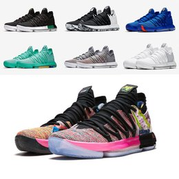 Wholesale turquoise grey - KD 10 Basketball Shoes MVP Oreo black City Edition What The Red Velvet Platinum multicolor Hyper Turquoise Kevin Durant Sports Shoes Sneaker