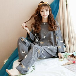 Argentina Plus Size Otoño Invierno Algodón Mujeres Pijama Set ropa de Dormir Inicio Pijama O Cuello de Manga Larga Pijama Femme Mujer Suministro