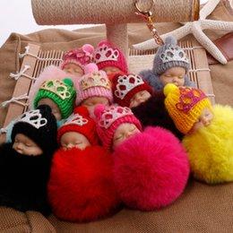 Wholesale doll 19 - Novelty Keychain 19 Styles Lovely Sleeping Baby Doll Keychain Pompom Key Chain Bag Charm Holder Resin Keychain Key Ring Pendant G250Q