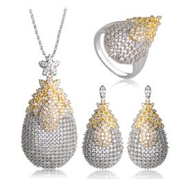 Wholesale Silver Tone Pendant Setting - whole saleDazz Copper White Cubic Zircon Jewelry Sets Gold Silver Two Tone Exquisite Wedding Bridal Jewelry Pendant Necklace Brincos