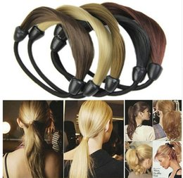 Корейский конский парик онлайн-Мода корейский парик волосы конский хвост держатели косы волосы твист резинка повязка на голову