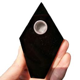 Varita de cristal de cuarzo negro online-DingSheng Black Obsidian Smoking Pipe Natural Large Crystal Quartz Stone Wand Punto Cigarros Pipas Con Filtro Metálico Para La Salud Fumar