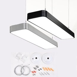 Wholesale Hanging Lighting Fixtures - 2FT 3FT 4FT Modern Office Minimalism Led Pendant Light Dining Room Led Pendant Lamp Round Corner Hanging Light Lustre Lamparas Fixtures