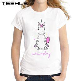 Wholesale Funny Exercise - Exercise Unicorn Women T-Shirt 2017 Summer Short Sleeve Lady Tops Funny Unicorn Practice Printed T Shirt Casual Tee Shirts