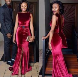 Wholesale jewel velvet dress - Dark Red Velvet African Prom Dresses 2018 Sexy Mermaid Front Split Evening Gowns Backless Beaded Waist Formal Party Dress Custom Made