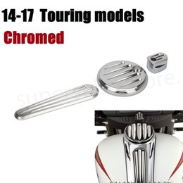 Wholesale Ignition Pack - Motorcycle CNC Chrome Dash cover chromed Pack Ignition Fuel Door Dash For Harley Road Glide Touring 2014-2017